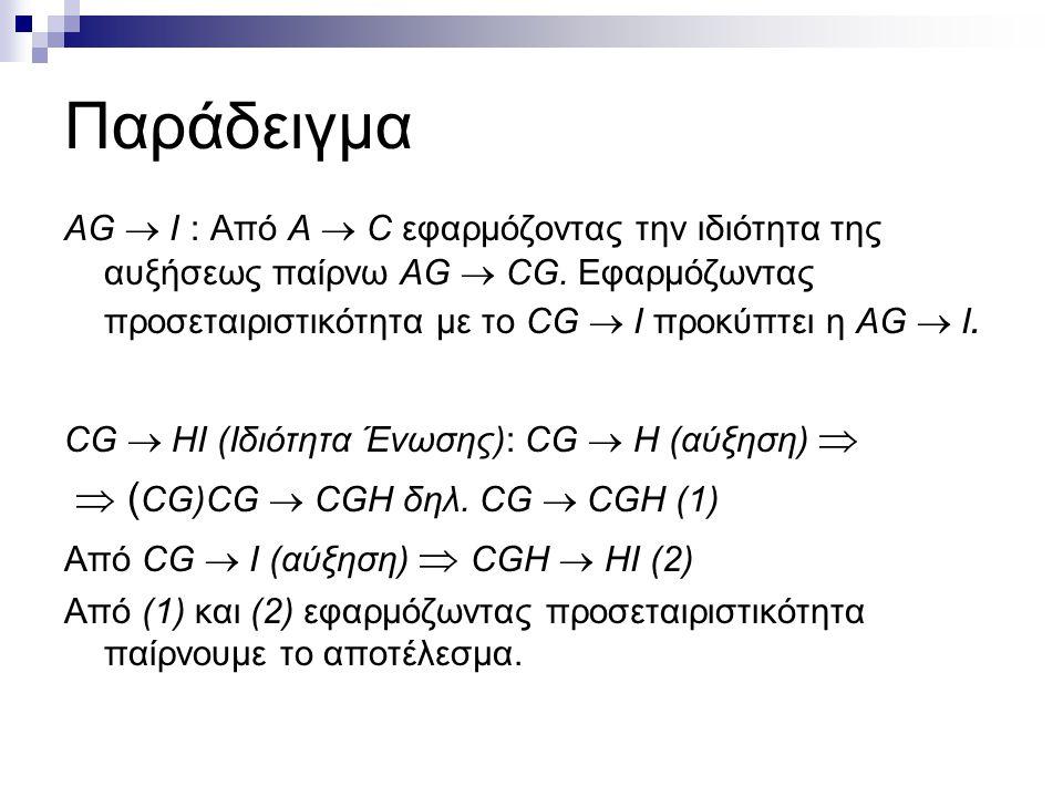 Παράδειγμα AG  I : Από A  C εφαρμόζοντας την ιδιότητα της αυξήσεως παίρνω AG  CG. Εφαρμόζωντας προσεταιριστικότητα με το CG  I προκύπτει η AG  I.