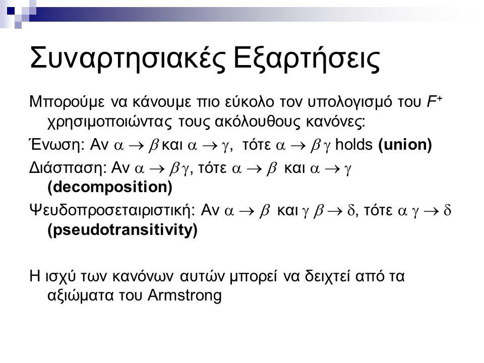 Συναρτησιακές Εξαρτήσεις Μπορούμε να κάνουμε πιο εύκολο τον υπολογισμό του F + χρησιμοποιώντας τους ακόλουθους κανόνες: Ένωση: Αν    και   , τότε     holds (union) Διάσπαση: Αν    , τότε    και    (decomposition) Ψευδοπροσεταιριστική: Αν    και    , τότε     (pseudotransitivity) Η ισχύ των κανόνων αυτών μπορεί να δειχτεί από τα αξιώματα του Armstrong