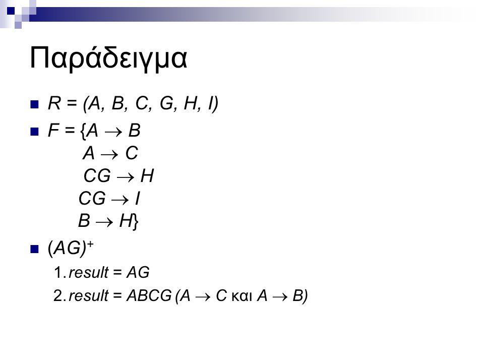 Παράδειγμα R = (A, B, C, G, H, I) F = {A  B A  C CG  H CG  I B  H} (AG) + 1.result = AG 2.result = ABCG(A  C και A  B)