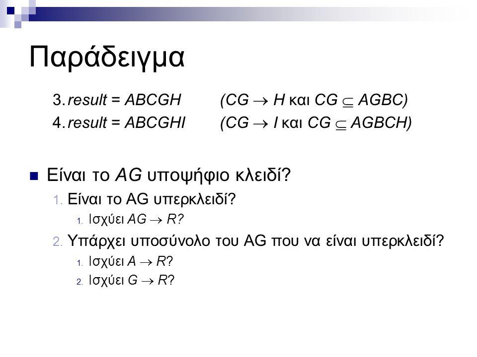 Παράδειγμα 3.result = ABCGH(CG  H και CG  AGBC) 4.result = ABCGHI(CG  I και CG  AGBCH) Είναι το AG υποψήφιο κλειδί? 1. Είναι το AG υπερκλειδί? 1.