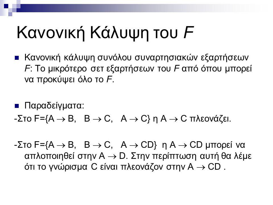 Κανονική Κάλυψη του F Κανονική κάλυψη συνόλου συναρτησιακών εξαρτήσεων F: Το μικρότερο σετ εξαρτήσεων του F από όπου μπορεί να προκύψει όλο το F.