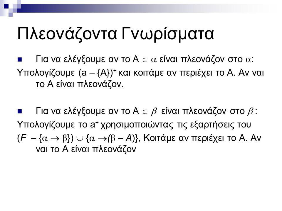 Πλεονάζοντα Γνωρίσματα Για να ελέγξουμε αν το A   είναι πλεονάζον στο  : Υπολογίζουμε (a – {A}) + και κοιτάμε αν περιέχει το Α. Αν ναι το Α είναι π