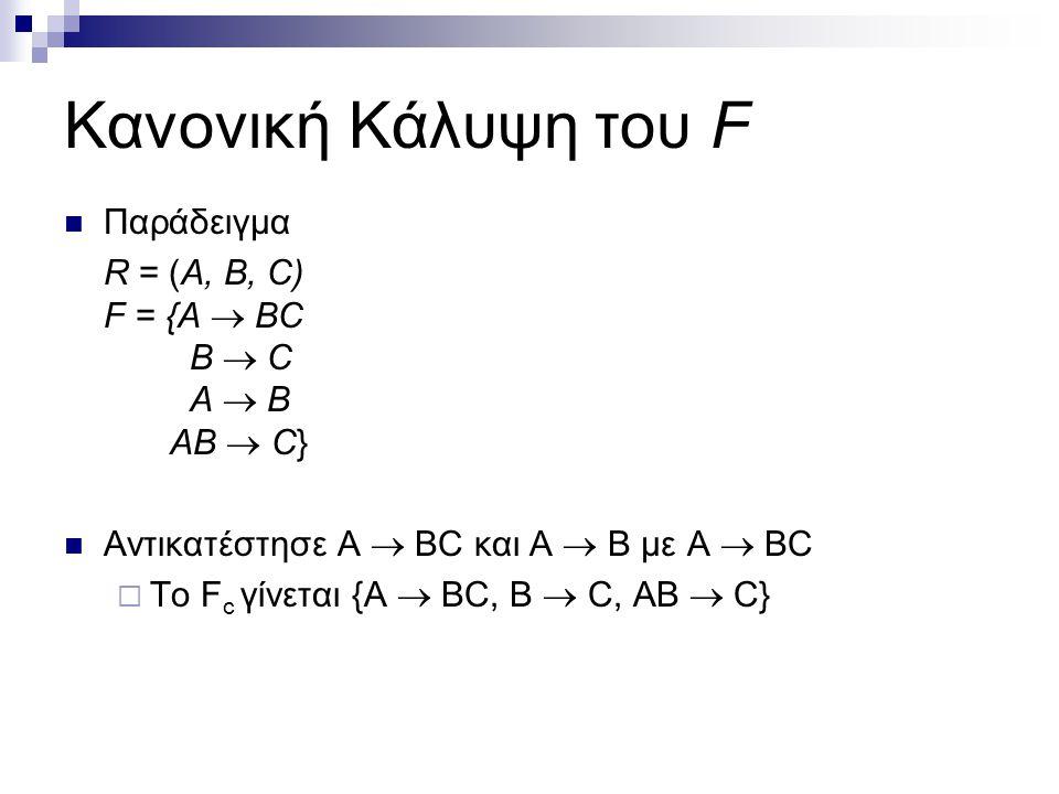 Κανονική Κάλυψη του F Παράδειγμα R = (A, B, C) F = {A  BC B  C A  B AB  C} Αντικατέστησε A  BC και A  B με A  BC  Τo F c γίνεται {A  BC, B 