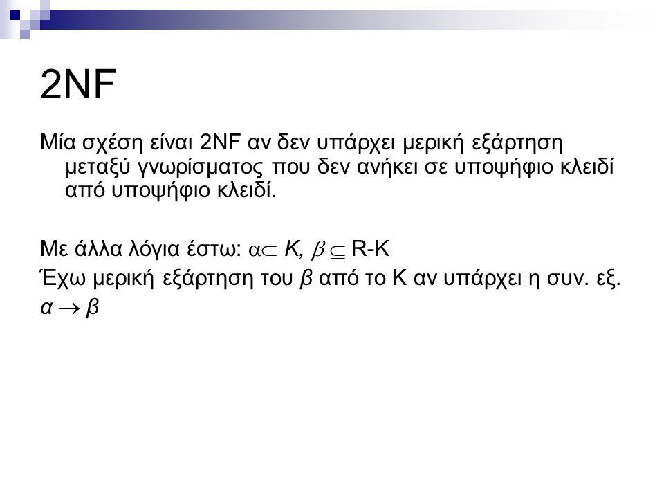 2NF Μία σχέση είναι 2NF αν δεν υπάρχει μερική εξάρτηση μεταξύ γνωρίσματος που δεν ανήκει σε υποψήφιο κλειδί από υποψήφιο κλειδί. Με άλλα λόγια έστω: 