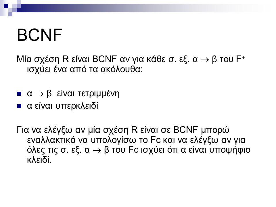 BCNF Μία σχέση R είναι BCNF αν για κάθε σ. εξ. α  β του F + ισχύει ένα από τα ακόλουθα: α  β είναι τετριμμένη α είναι υπερκλειδί Για να ελέγξω αν μί