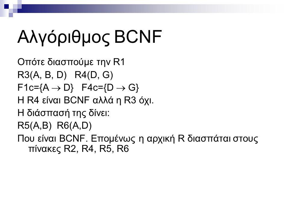 Αλγόριθμος BCNF Οπότε διασπούμε την R1 R3(A, B, D) R4(D, G) F1c={Α  D} F4c={D  G} H R4 είναι BCNF αλλά η R3 όχι. Η διάσπασή της δίνει: R5(A,B) R6(A,