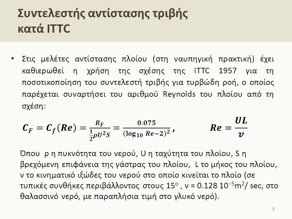 Συντελεστής αντίστασης τριβής κατά ΙΤΤC Όπου ρ η πυκνότητα του νερού, U η ταχύτητα του πλοίου, S η βρεχόμενη επιφάνεια της γάστρας του πλοίου, L το μήκος του πλοίου, ν το κινηματικό ιξώδες του νερού στο οποίο κινείται το πλοίο (σε τυπικές συνθήκες περιβάλλοντος στους 15 ο, ν = 0.128 10 −5 m 2 / sec, στο θαλασσινό νερό, με παραπλήσια τιμή στο γλυκό νερό).