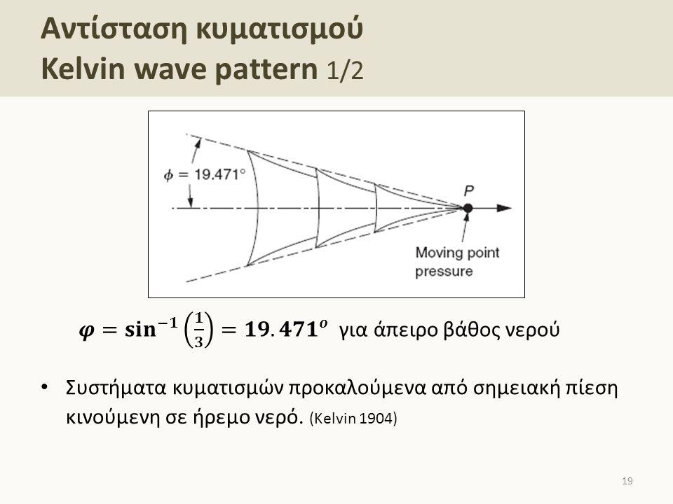 Αντίσταση κυματισμού Kelvin wave pattern 1/2 Συστήματα κυματισμών προκαλούμενα από σημειακή πίεση κινούμενη σε ήρεμο νερό. (Kelvin 1904) 19