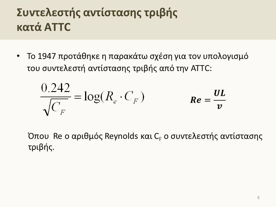 To 1947 προτάθηκε η παρακάτω σχέση για τον υπολογισμό του συντελεστή αντίστασης τριβής από την ΑΤΤC: Όπου Re ο αριθμός Reynolds και C F ο συντελεστής