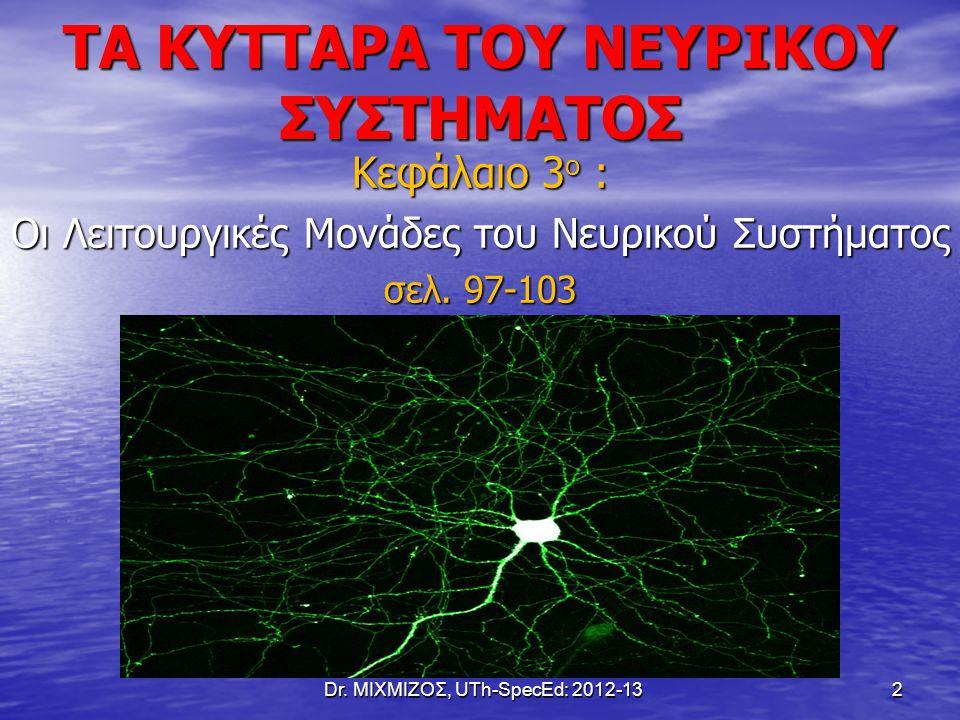 ΤΑ ΚΥΤΤΑΡΑ ΤΟΥ ΝΕΥΡΙΚΟΥ ΣΥΣΤΗΜΑΤΟΣ Κεφάλαιο 3 ο : Οι Λειτουργικές Μονάδες του Νευρικού Συστήματος σελ. 97-103 Dr. ΜΙΧΜΙΖΟΣ, UTh-SpecEd: 2012-13 2