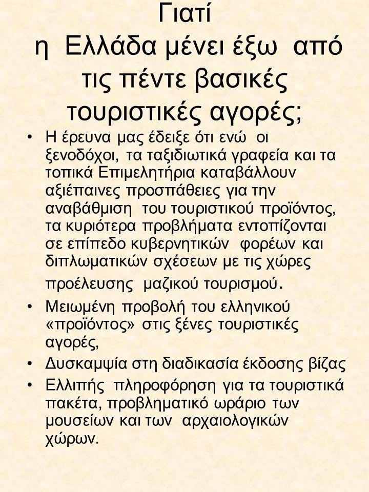 Γιατί η Ελλάδα μένει έξω από τις πέντε βασικές τουριστικές αγορές; Η έρευνα μας έδειξε ότι ενώ οι ξενοδόχοι, τα ταξιδιωτικά γραφεία και τα τοπικά Επιμελητήρια καταβάλλουν αξιέπαινες προσπάθειες για την αναβάθμιση του τουριστικού προϊόντος, τα κυριότερα προβλήματα εντοπίζονται σε επίπεδο κυβερνητικών φορέων και διπλωματικών σχέσεων με τις χώρες προέλευσης μαζικού τουρισμού.