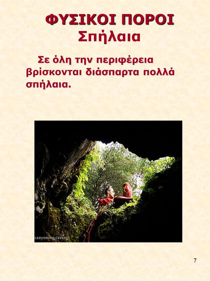 7 ΦΥΣΙΚΟΙ ΠΟΡΟΙ ΦΥΣΙΚΟΙ ΠΟΡΟΙ Σπήλαια Σε όλη την περιφέρεια διάσπαρτα πολλά σπήλαια.