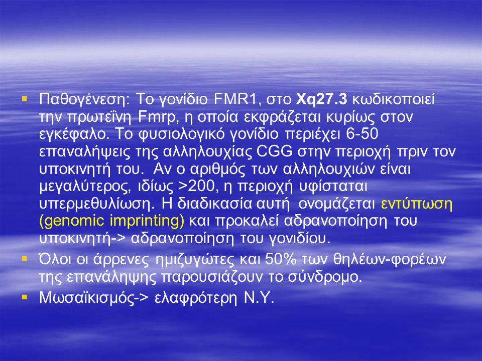   Παθογένεση: Tο γονίδιο FMR1, στο Χq27.3 κωδικοποιεί την πρωτεΐνη Fmrp, η οποία εκφράζεται κυρίως στον εγκέφαλο. Το φυσιολογικό γονίδιο περιέχει 6-
