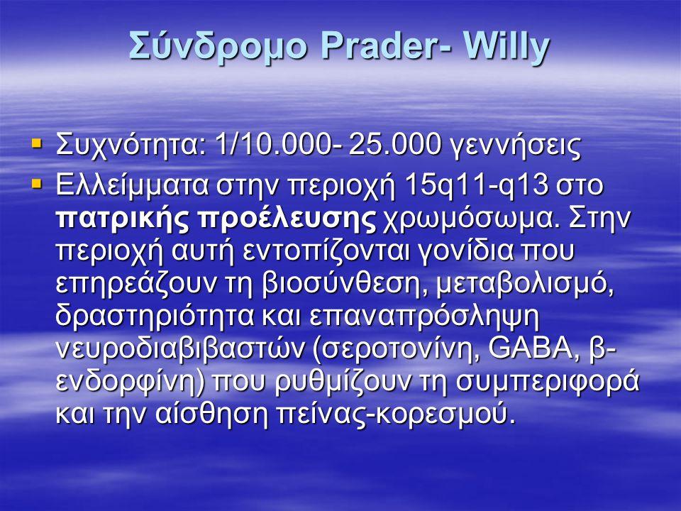 Σύνδρομο Prader- Willy  Συχνότητα: 1/10.000- 25.000 γεννήσεις  Ελλείμματα στην περιοχή 15q11-q13 στο πατρικής προέλευσης χρωμόσωμα. Στην περιοχή αυτ