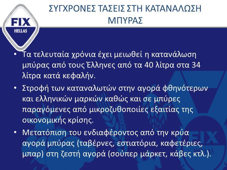 ΣΥΓΧΡΟΝΕΣ ΤΑΣΕΙΣ ΣΤΗ ΚΑΤΑΝΑΛΩΣΗ ΜΠΥΡΑΣ Τα τελευταία χρόνια έχει μειωθεί η κατανάλωση μπύρας από τους Έλληνες από τα 40 λίτρα στα 34 λίτρα κατά κεφαλήν.