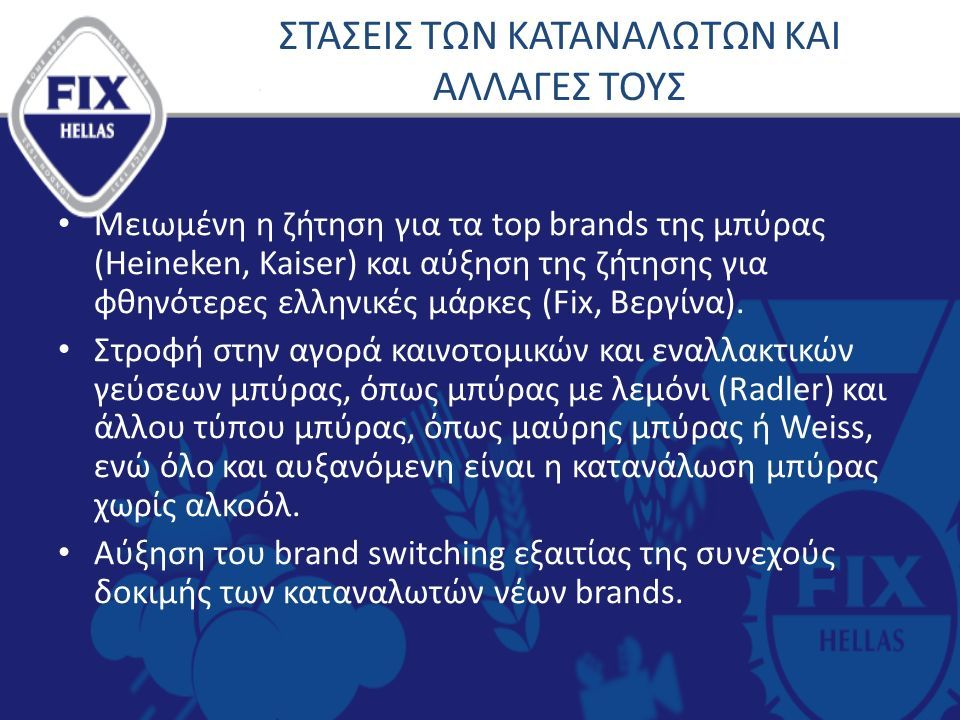 ΣΤΑΣΕΙΣ ΤΩΝ ΚΑΤΑΝΑΛΩΤΩΝ ΚΑΙ ΑΛΛΑΓΕΣ ΤΟΥΣ Μειωμένη η ζήτηση για τα top brands της μπύρας (Heineken, Kaiser) και αύξηση της ζήτησης για φθηνότερες ελληνικές μάρκες (Fix, Βεργίνα).