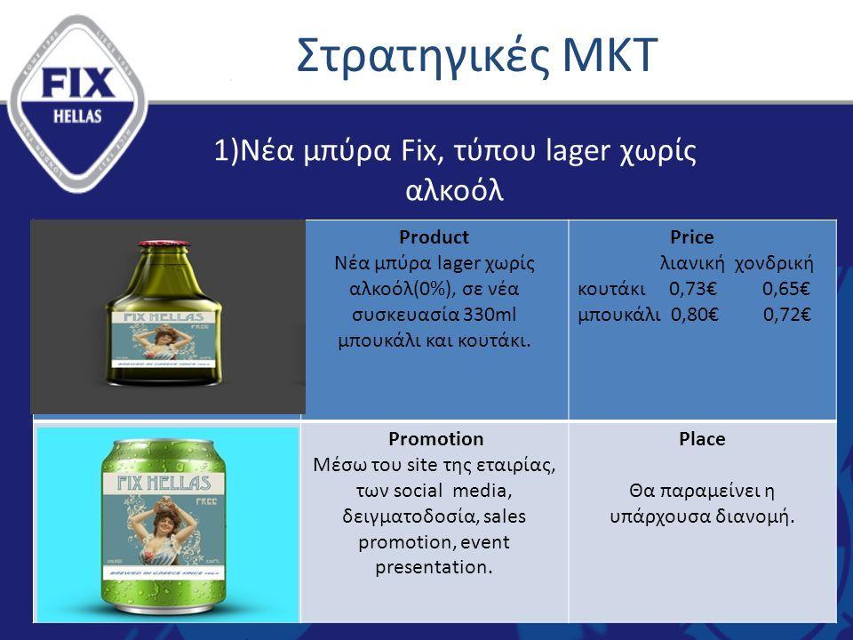 Στρατηγικές ΜΚΤ Product Νέα μπύρα lager χωρίς αλκοόλ(0%), σε νέα συσκευασία 330ml μπουκάλι και κουτάκι.