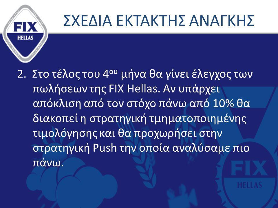 2. Στο τέλος του 4 ου μήνα θα γίνει έλεγχος των πωλήσεων της FIX Hellas.