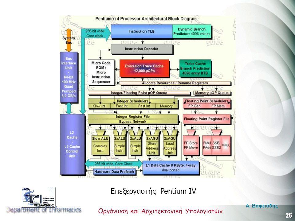 26 Οργάνωση και Αρχιτεκτονική Υπολογιστών A. Βαφειάδης Επεξεργαστής Pentium IV