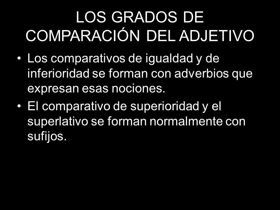 LOS GRADOS DE COMPARACIÓN DEL ADJETIVO Los comparativos de igualdad y de inferioridad se forman con adverbios que expresan esas nociones. El comparati
