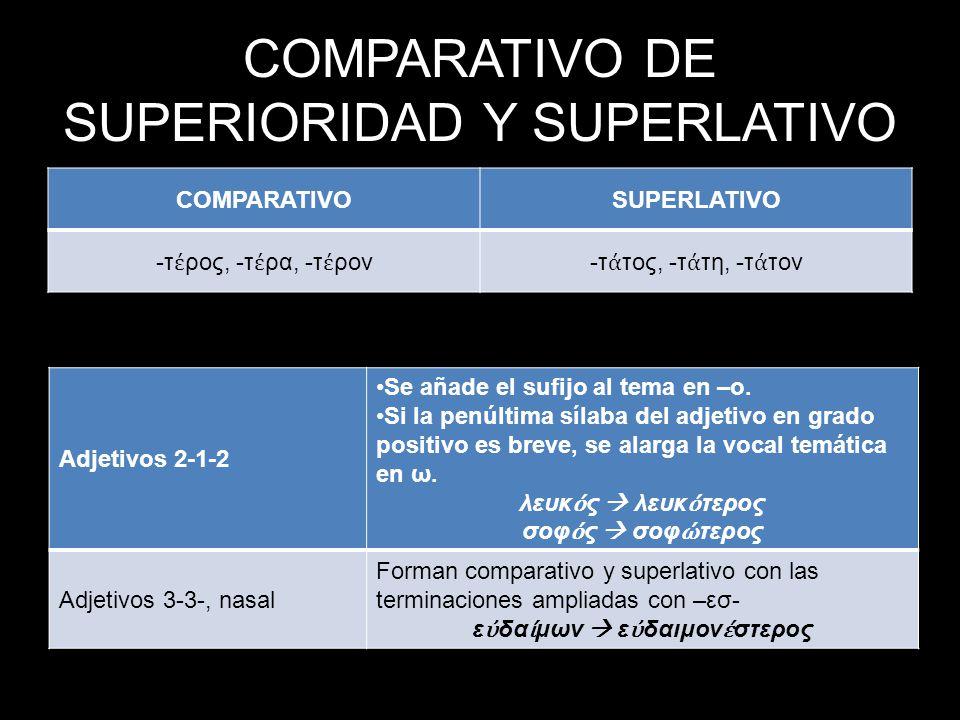 COMPARATIVO DE SUPERIORIDAD Y SUPERLATIVO COMPARATIVOSUPERLATIVO -τ ρος, -τ ρα, -τ ρον-τ τος, -τ τη, -τ τον Adjetivos 2-1-2 Se añade el sufijo al tema en –ο.