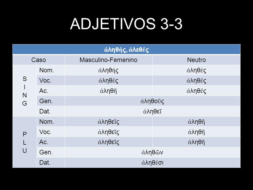 ADJETIVOS 3-3 ληθ ς, λεθ ς CasoMasculino-FemeninoNeutro Nom.