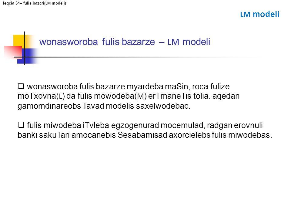 wonasworoba fulis bazarze – LM modeli wonasworoba fulis bazarze myardeba maSin, roca fulize moTxovna( L ) da fulis mowodeba( M ) erTmaneTis tolia. aqe