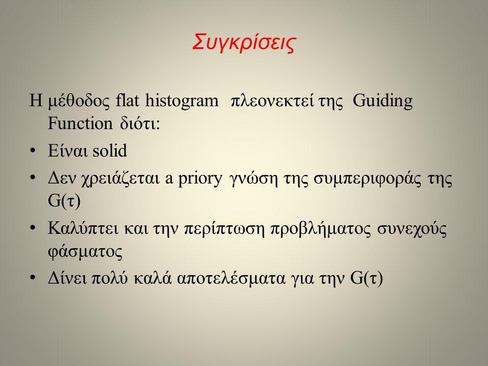 Συγκρίσεις Η μέθοδος flat histogram πλεονεκτεί της Guiding Function διότι: • Είναι solid • Δεν χρειάζεται a priory γνώση της συμπεριφοράς της G(τ) • Κ