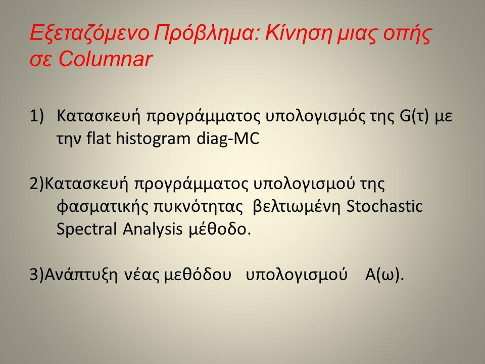 Εξεταζόμενο Πρόβλημα: Κίνηση μιας οπής σε Columnar 1)Κατασκευή προγράμματος υπολογισμός της G(τ) με την flat histogram diag-MC 2)Κατασκευή προγράμματο