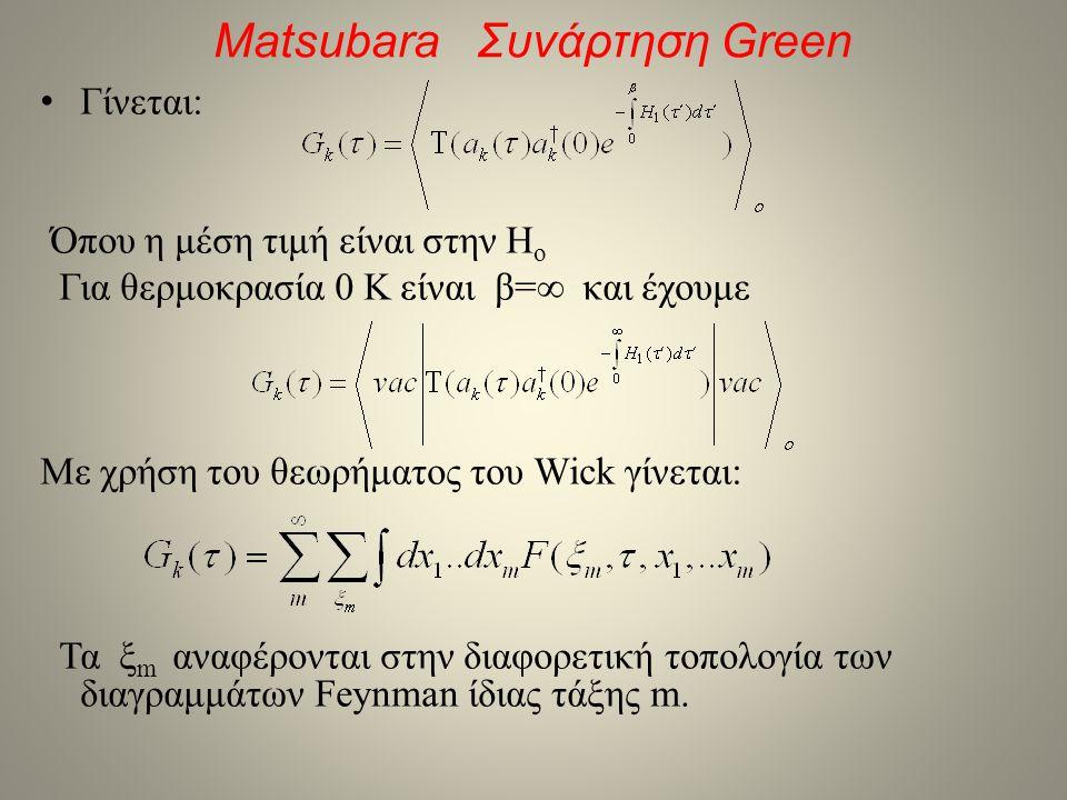 Matsubara Συνάρτηση Green • Γίνεται: Όπου η μέση τιμή είναι στην H o Για θερμοκρασία 0 Κ είναι β=∞ και έχουμε Με χρήση του θεωρήματος του Wick γίνεται