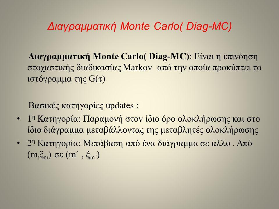 Διαγραμματική Monte Carlo( Diag-MC) Διαγραμματική Monte Carlo( Diag-MC): Είναι η επινόηση στοχαστικής διαδικασίας Markov από την οποία προκύπτει το ισ