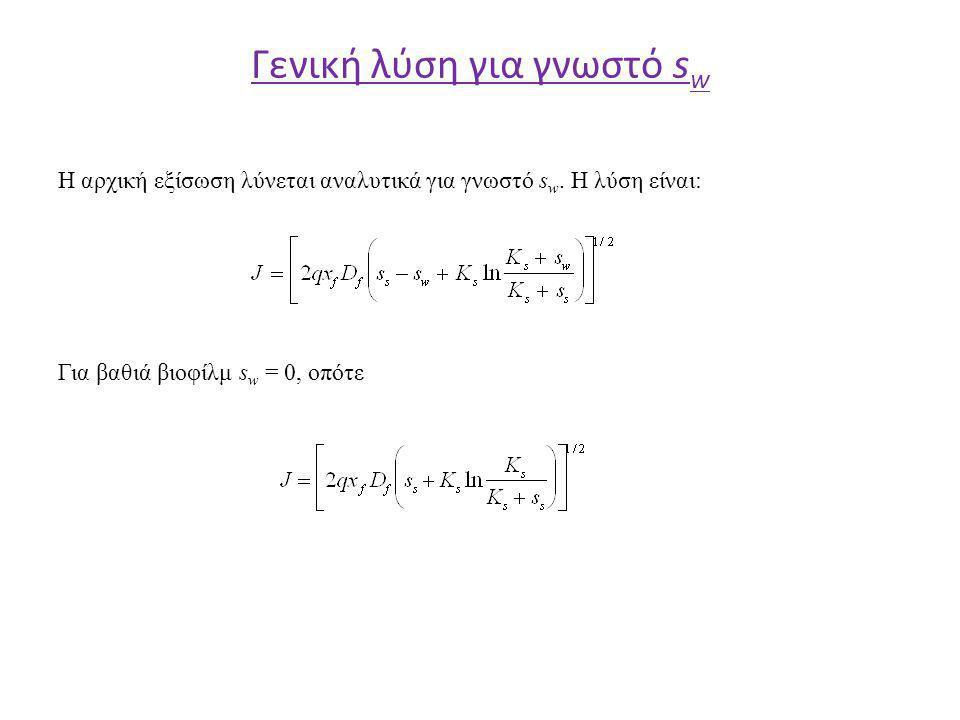 Γενική λύση για γνωστό s w H αρχική εξίσωση λύνεται αναλυτικά για γνωστό s w.
