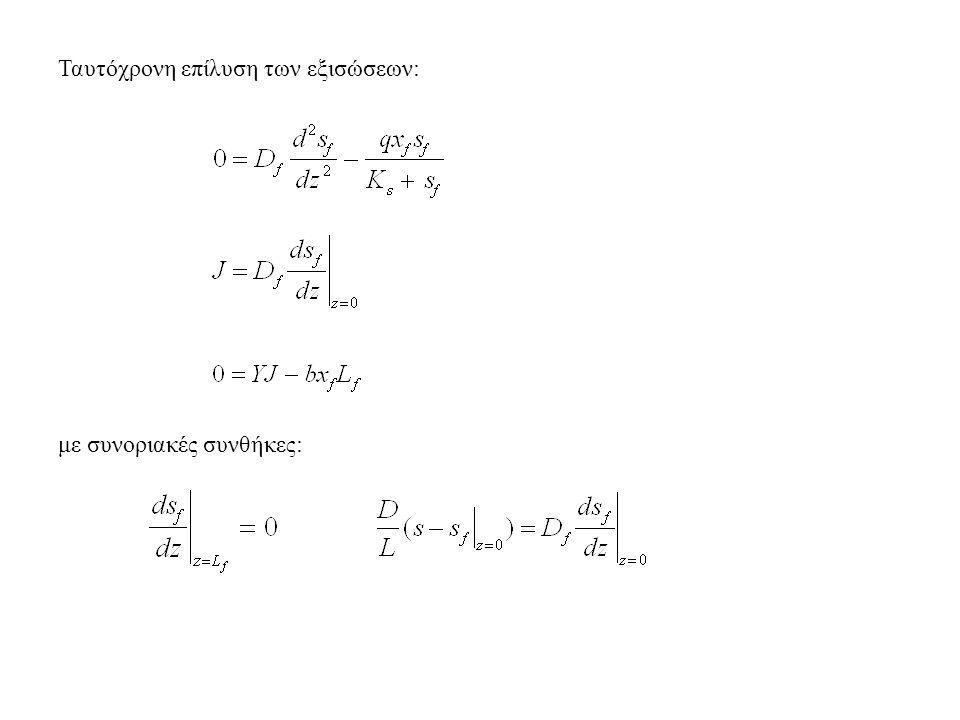 Ταυτόχρονη επίλυση των εξισώσεων: με συνοριακές συνθήκες: