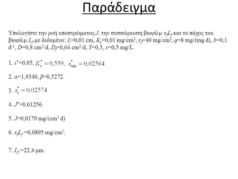 Παράδειγμα Υπολογίστε την ροή υποστρώματος J, την συσσώρευση βιοφίλμ x f L f και το πάχος του βιοφίλμ L f με δεδομένα: L=0,01 cm, K s =0,01 mg/cm 3, x f =40 mg/cm 3, q=8 mg/(mg d), b=0,1 d -1, D=0,8 cm 2 /d, D f =0,64 cm 2 /d, Y=0,3, s=0,5 mg/L.