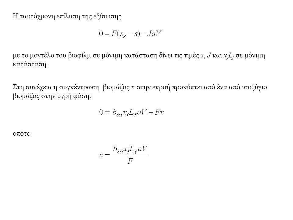 Η ταυτόχρονη επίλυση της εξίσωσης με το μοντέλο του βιοφίλμ σε μόνιμη κατάσταση δίνει τις τιμές s, J και x f L f σε μόνιμη κατάσταση.