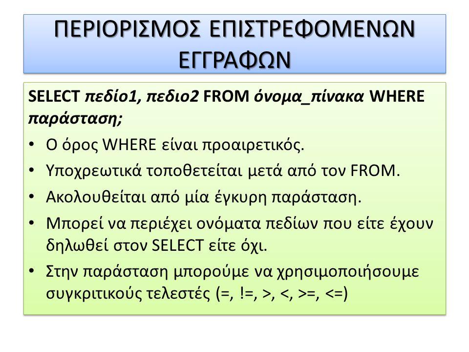 ΠΕΡΙΟΡΙΣΜΟΣ ΕΠΙΣΤΡΕΦΟΜΕΝΩΝ ΕΓΓΡΑΦΩΝ SELECT πεδίο1, πεδιο2 FROM όνομα_πίνακα WHERE παράσταση; • Ο όρος WHERE είναι προαιρετικός.
