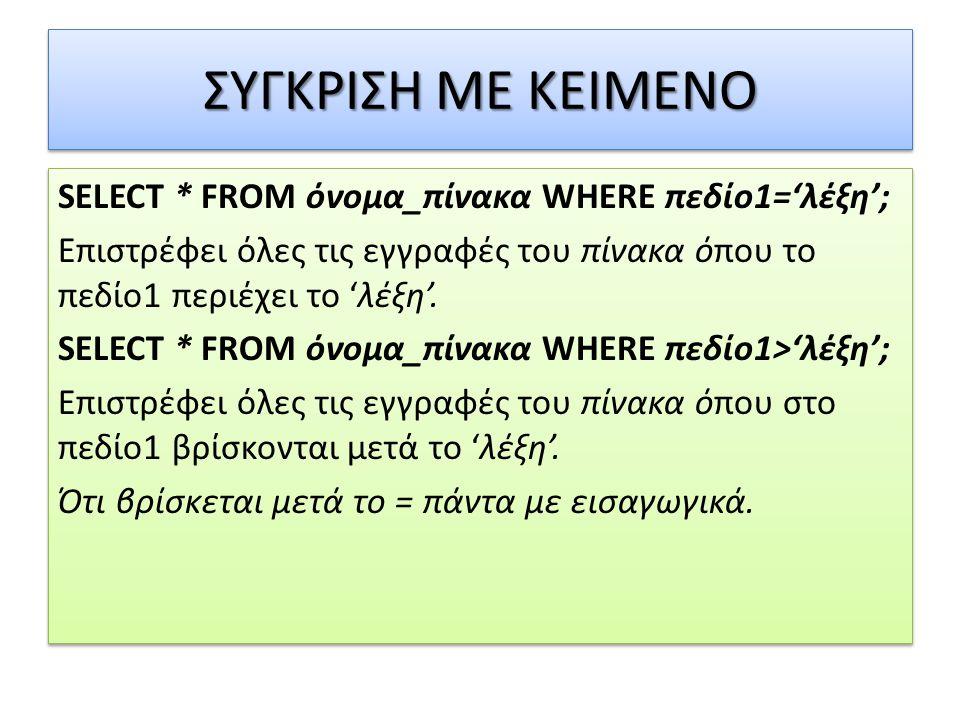 ΣΥΓΚΡΙΣΗ ΜΕ ΚΕΙΜΕΝΟ SELECT * FROM όνομα_πίνακα WHERE πεδίο1='λέξη'; Επιστρέφει όλες τις εγγραφές του πίνακα όπου το πεδίο1 περιέχει το 'λέξη'.