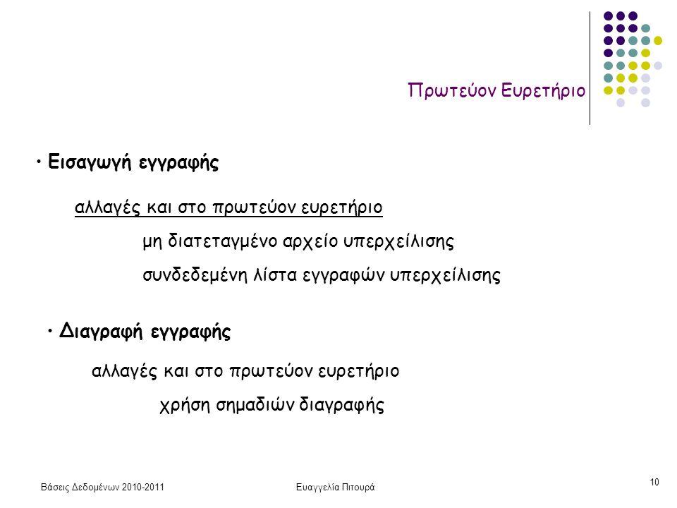 Βάσεις Δεδομένων 2010-2011Ευαγγελία Πιτουρά 10 Πρωτεύον Ευρετήριο • Εισαγωγή εγγραφής αλλαγές και στο πρωτεύον ευρετήριο μη διατεταγμένο αρχείο υπερχε