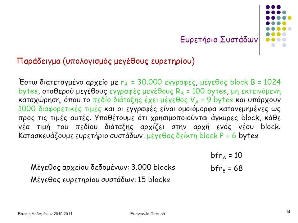 Βάσεις Δεδομένων 2010-2011Ευαγγελία Πιτουρά 14 Ευρετήριο Συστάδων Παράδειγμα (υπολογισμός μεγέθους ευρετηρίου) Έστω διατεταγμένο αρχείο με r A = 30.000 εγγραφές, μέγεθος block B = 1024 bytes, σταθερού μεγέθους εγγραφές μεγέθους R A = 100 bytes, μη εκτεινόμενη καταχώρηση, όπου το πεδίο διάταξης έχει μέγεθος V A = 9 bytes και υπάρχουν 1000 διαφορετικές τιμές και οι εγγραφές είναι ομοιόμορφα κατανεμημένες ως προς τις τιμές αυτές.