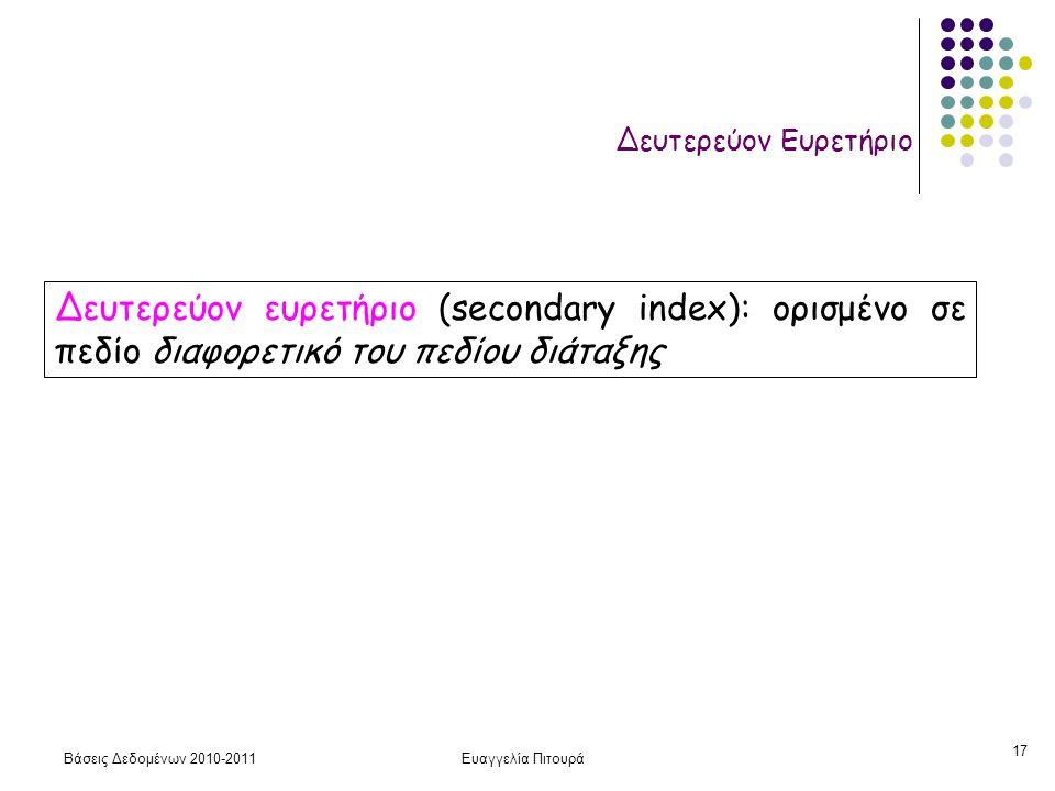 Βάσεις Δεδομένων 2010-2011Ευαγγελία Πιτουρά 17 Δευτερεύον Ευρετήριο Δευτερεύον ευρετήριο (secondary index): ορισμένο σε πεδίο διαφορετικό του πεδίου διάταξης
