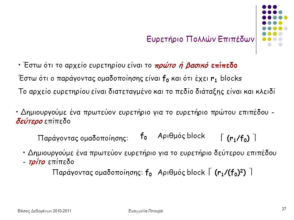 Βάσεις Δεδομένων 2010-2011Ευαγγελία Πιτουρά 27 Ευρετήριο Πολλών Επιπέδων • Έστω ότι το αρχείο ευρετηρίου είναι το πρώτο ή βασικό επίπεδο Έστω ότι ο παράγοντας ομαδοποίησης είναι f 0 και ότι έχει r 1 blocks Το αρχείο ευρετηρίου είναι διατεταγμένο και το πεδίο διάταξης είναι και κλειδί • Δημιουργούμε ένα πρωτεύον ευρετήριο για το ευρετήριο πρώτου επιπέδου - δεύτερο επίπεδο Παράγοντας ομαδοποίησης: f0f0 Αριθμός block  (r 1 /f 0 )  • Δημιουργούμε ένα πρωτεύον ευρετήριο για το ευρετήριο δεύτερου επιπέδου - τρίτο επίπεδο Παράγοντας ομαδοποίησης:f0f0 Αριθμός block  (r 1 /(f 0 ) 2 ) 