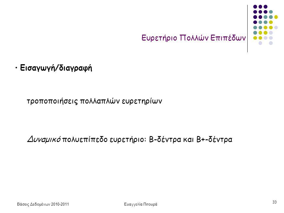 Βάσεις Δεδομένων 2010-2011Ευαγγελία Πιτουρά 33 Ευρετήριο Πολλών Επιπέδων • Εισαγωγή/διαγραφή τροποποιήσεις πολλαπλών ευρετηρίων Δυναμικό πολυεπίπεδο ε