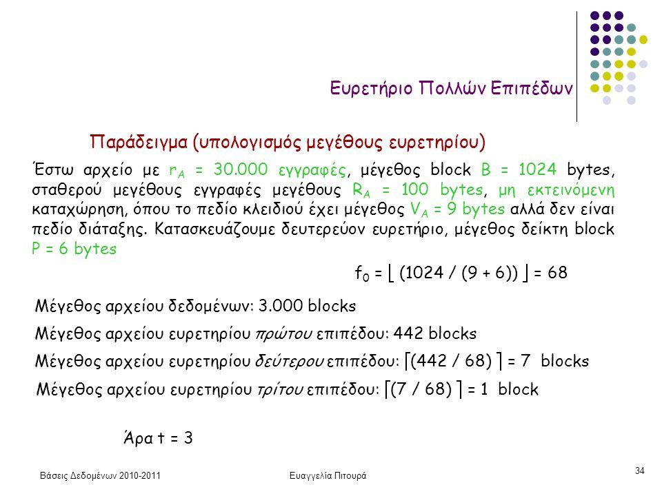 Βάσεις Δεδομένων 2010-2011Ευαγγελία Πιτουρά 34 Ευρετήριο Πολλών Επιπέδων Έστω αρχείο με r A = 30.000 εγγραφές, μέγεθος block B = 1024 bytes, σταθερού μεγέθους εγγραφές μεγέθους R A = 100 bytes, μη εκτεινόμενη καταχώρηση, όπου το πεδίο κλειδιού έχει μέγεθος V A = 9 bytes αλλά δεν είναι πεδίο διάταξης.