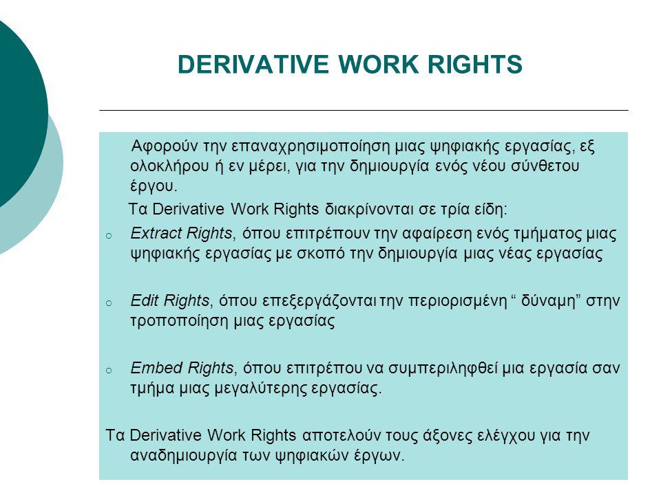 DERIVATIVE WORK RIGHTS Αφορούν την επαναχρησιμοποίηση μιας ψηφιακής εργασίας, εξ ολοκλήρου ή εν μέρει, για την δημιουργία ενός νέου σύνθετου έργου. Τα