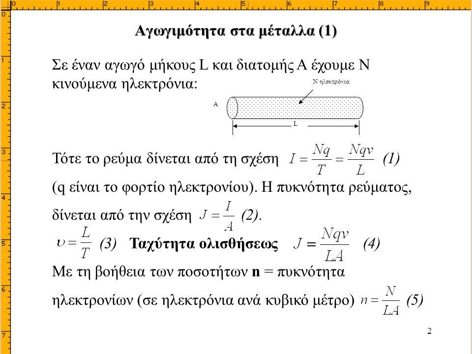 23 Βρήκαμε την (1) Για να έχουμε ρεύμα ολισθήσεως ηλεκτρονίων πρέπει να υπάρχει ένα πεδίο ε το οποίο βρίσκεται από την έτσι ή αντικαθιστώντας το Ι από την (1) καταλήγουμε στην σχέση (3) (2) (3) (Είναι η σχέση (3) της σελίδας 20) Εύρεση του εσωτερικού πεδίου  καθώς και του ρεύματος ολισθήσεως οπών (μειονότητος) Ipd (1)