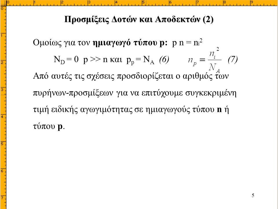 26 Καθώς και: (1) (ανεξάρτητα της απόστασης) Αν εφαρμόσουμε τα ίδια για τα ηλεκτρόνια: Έτσι πολλαπλασιάζοντας τις προηγούμενες σχέσεις p και n: καταλήγουμε στην Άρα Νόμος δράσεως μάζας (2) = σταθερό Μεταβολή Δυναμικού σε Ημιαγωγό Μεταβλητής Νόθευσης (2)