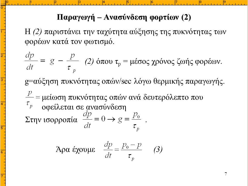 28 φορέαςυλικό Επιβολή ορθής πόλωσης: Υποθέτουμε ότι η πυκνότητα αποδεκτών είναι πολύ μεγαλύτερη από την πυκνότητα των δοτών έτσι ώστε Ιpn>>Inp.