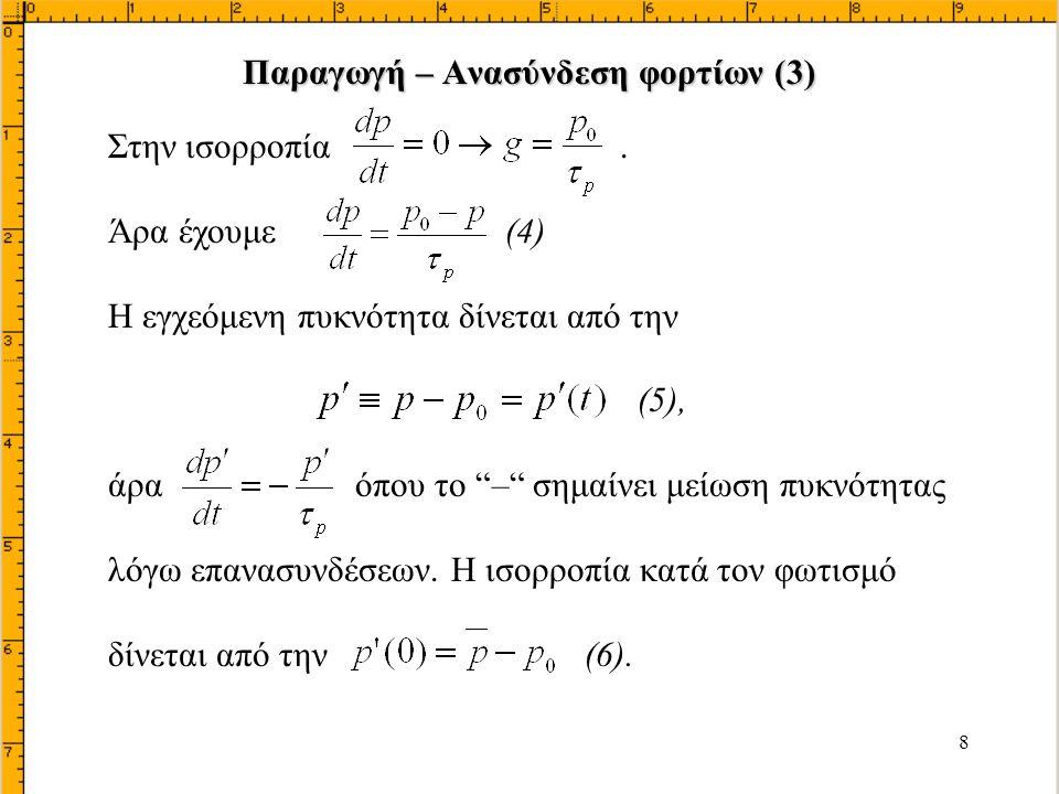 29 Η Τελική τιμή του ρεύματος I S Αλλη έκφραση: Όπου: σ n (σ p ) = ειδική αγωγιμότητα της πλευράς n (p) σ ι = ειδική αγωγιμότητα αμιγούς υλικού b = μ n /μ p φορέαςυλικό Οι Συνιστώσες Ρεύματος σε δίοδο p n Ι p n (2)