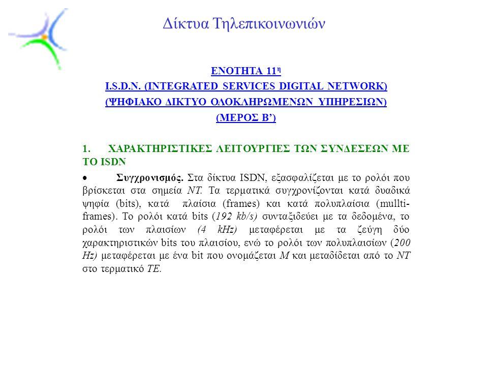 Slide 1 Δίκτυα Τηλεπικοινωνιών ENOTHTA 11 η I.S.D.N. (INTEGRATED SERVICES DIGITAL NETWORK) (ΨΗΦΙΑΚΟ ΔΙΚΤΥΟ ΟΛΟΚΛΗΡΩΜΕΝΩΝ ΥΠΗΡΕΣΙΩΝ) (ΜΕΡΟΣ Β') 1. XΑΡΑ