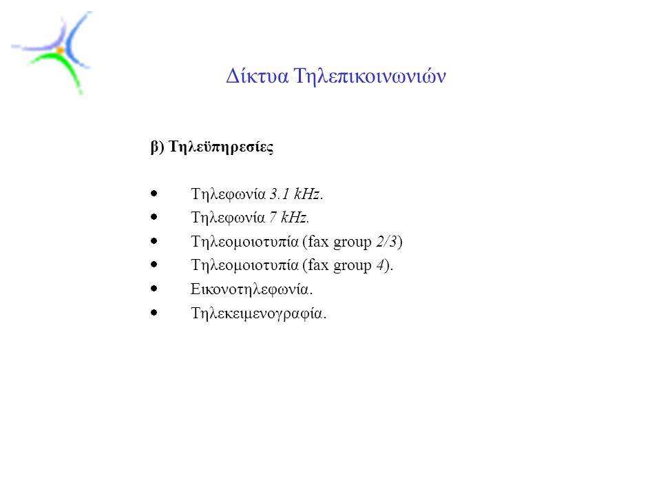 Slide 7 Δίκτυα Τηλεπικοινωνιών β) Τηλεϋπηρεσίες  Tηλεφωνία 3.1 kHz.  Τηλεφωνία 7 kHz.  Tηλεομοιοτυπία (fax group 2/3)  Tηλεομοιοτυπία (fax group 4